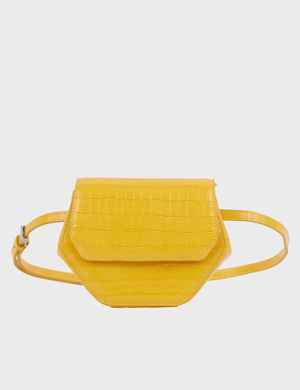 MAISON246,[퍼/메탈체인증정]246 MAGOT SMALL CROCODILE PENNY BAG - YELLOW,No.246