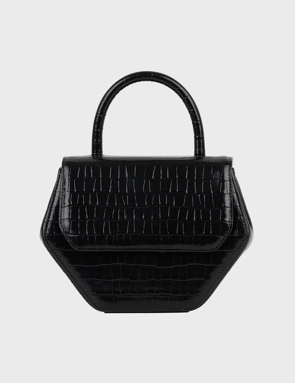 MAISON246,246 MAGOT CROCODILE MEDIUM BAG - BLACK,No.246
