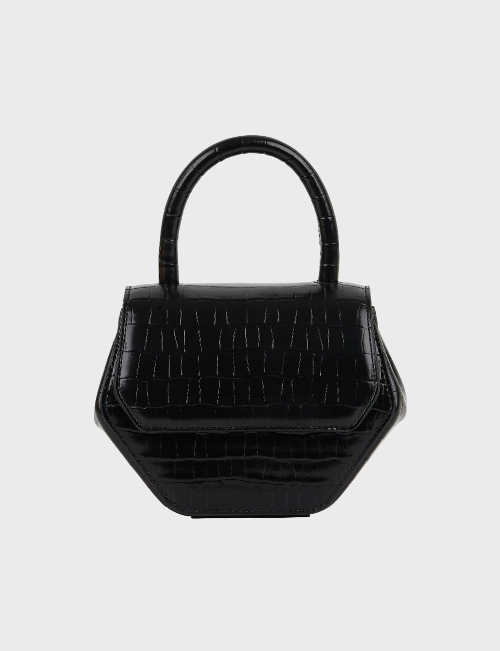 MAISON246,246 MAGOT CROCODILE SMALL BAG - BLACK,No.246