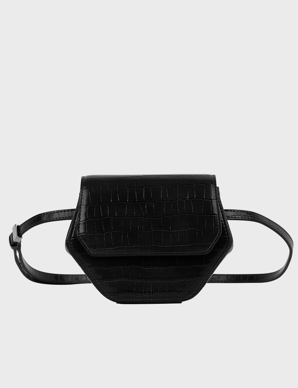 MAISON246,[메탈체인증정] 246 MAGOT SMALL CROCODILE PENNY BAG - BLACK,246