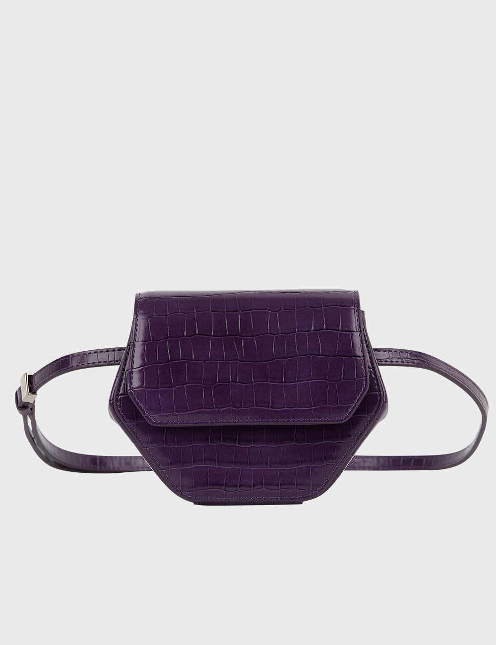 MAISON246,246 MAGOT CROCODILE PENNY BAG - PURPLE,No.246