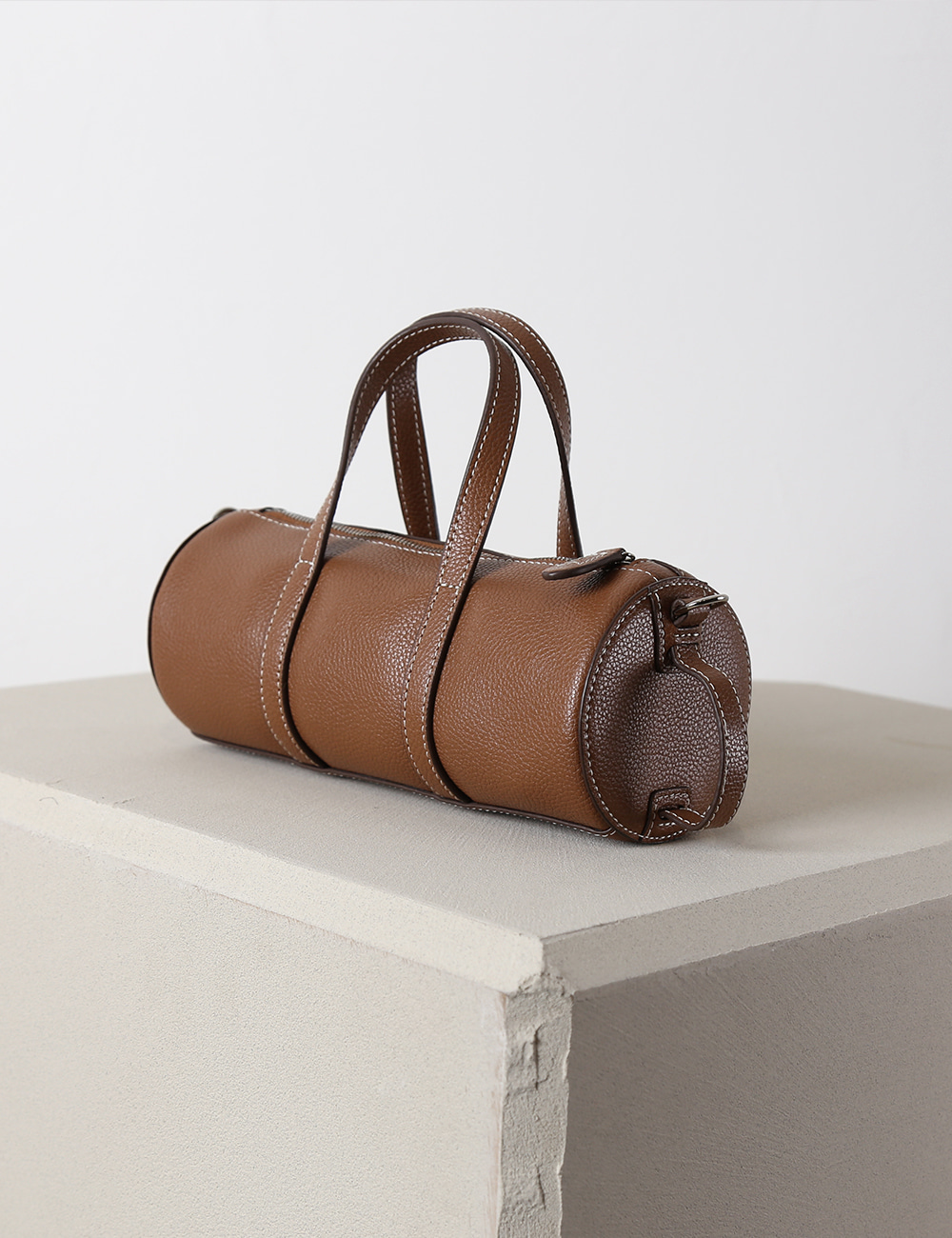 MAISON246,246 BARREL ALL LEATHER BAG - TAN,No.246